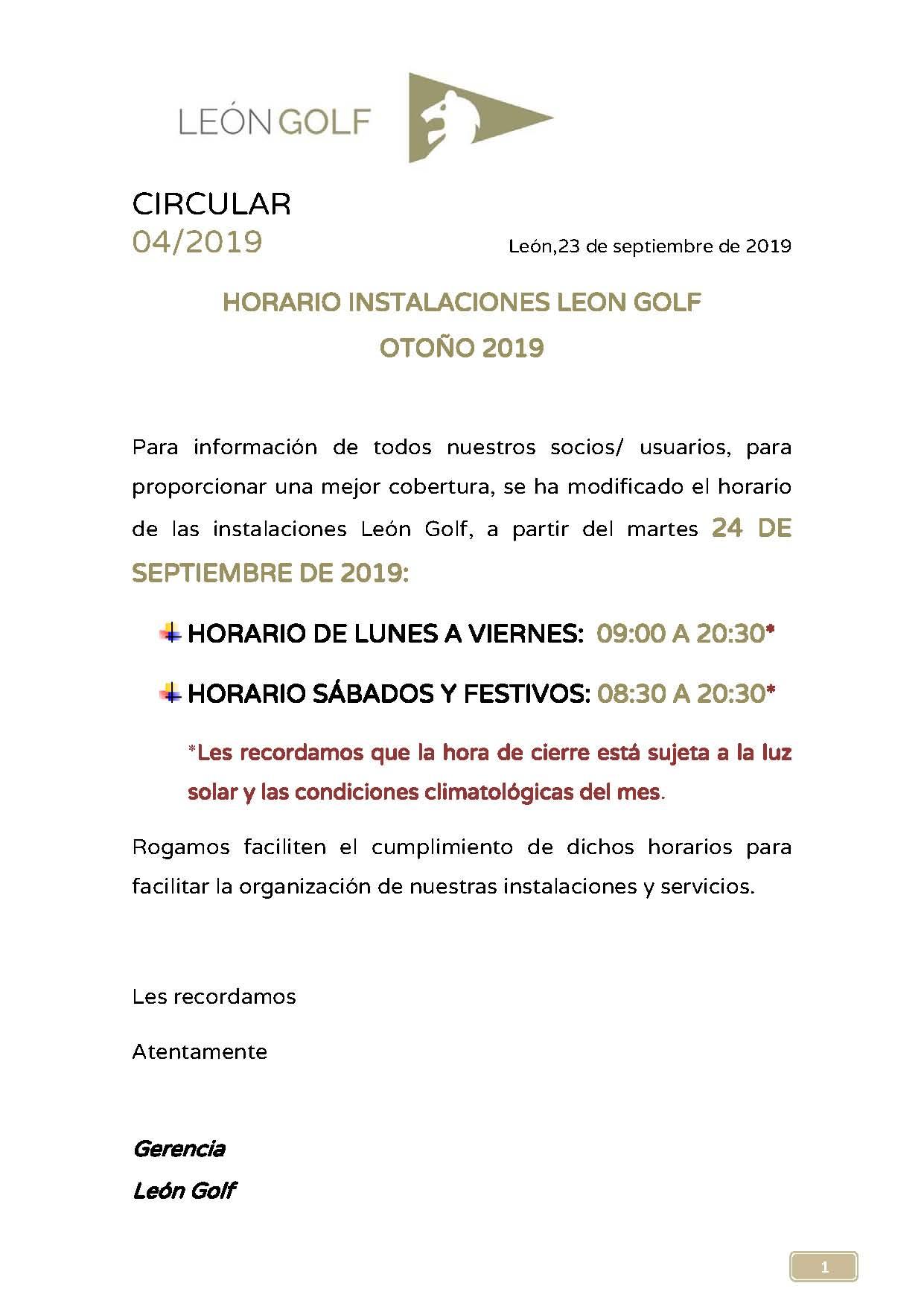 HORARIO APERTURA INSTALACIONES OTOÑO 2019 - imagen 2