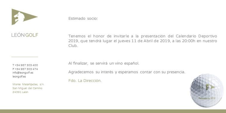PRESENTACIÓN CALENDARIO 2019